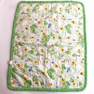 VTG Sears WINNIE THE POOH Baby Crib Blanket Comforter Quilt Green Polka Dot