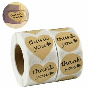 1000 Thank You Stickers Heart Love Shaped Kraft Paper & Round Adhesive Labels
