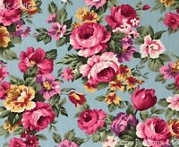 ROSE & HUBBLE CHINTZY PINK ROSES ON BLUE FABRIC 100% COTTON 112CM WIDE PER METRE
