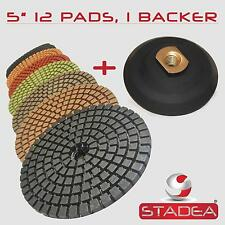 "5"" PREMIUM DIAMOND POLISHING PAD 12 PC +1 Rubber Backer"