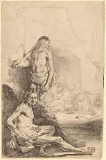 Rembrandt Etching Reproduction: A Young Man, Seated and Standing: Fine Art Print