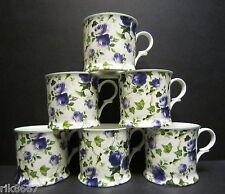 Set Of 6 Ivy Rose Blue Chintz English Fine Bone China Mugs Cups By Milton China