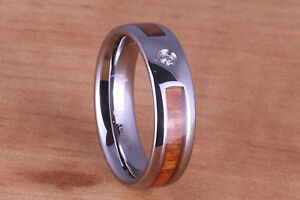 Tungsten Koa Wood Inlaid with CZ Wedding Ring Wedding Band Womens Ring Mens Ring