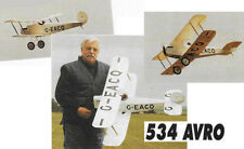 """Model Airplane Plans (RC): AVRO 534 BABY 1/7 Scale 44""""ws for .19-.26 Engines"""