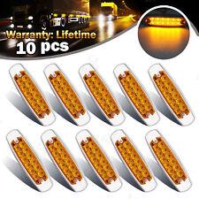 10x Amber Thin Side Marker Light Clearance 12 LED Chrome For Freightliner 12/24V