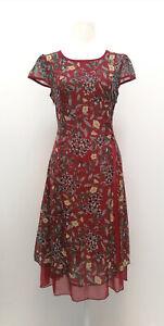 Neu Damen kurzarm Kleid rot Blumen chinesisches Stil 34283