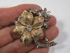 "Vintage Jomaz Mazer Brushed Gold Pave Rhinestone Flower Brooch 1.75"" Pin"