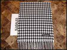 100% CASHMERE Long Scarf BLACK WHITE HOUNDSTOOTH Warm SCOTLAND Winter Wool