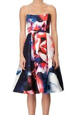 $799 Nicholas Thermo Designer Floral Silk Mini Rose Print Ball Dress