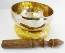 "J666 Energetic Throat G Chakra Healing 5"" Hand  Hammered Tibetan Singing Bowl"
