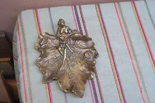 """Vintage Bronze Metal Leaf Dish Figural Nude Frogs Art Deco - Nouveau 7"""" x 8.5"""""""