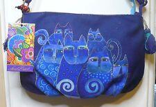 """Laurel Burch """"Indigo Cats"""" #LB5552 A Cat Artistic Mini Crossbody Hand Bag NEW"""