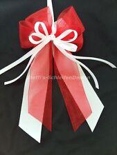 10 Antennenschleifen Autoschleifen Hochzeit Schleifen weiß rot Perlenherz