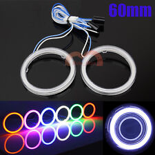 2x 60mm Car Motorcycle Headlight Angel Eyes Decorative Halo Rings Cob LED Lights