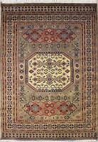 Rugstc 4x6 Caucasian Design Beige Area Rug, Hand-Knotted,Geometric with Wool