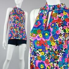 M/L Vintage 1960s Neon Psychedelic Floral Barkcloth Top & Shorts Outfit Set 60s
