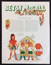 Vintage Betsy McCall Mag. Paper Doll, The Twins Go to School , Sept.1970