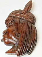Mid Century Brazilian Hand Carved Wood Native Mask Wall Art