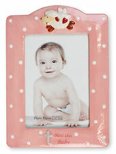 "Baby Girl Christening Baptism Pink Porcelain Photo Picture Frame 7 1/4"" x 9 3/4"
