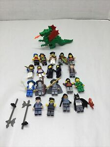 Lot of 20 Lego Minifigures + Green Dragon w/wings Castle Pirates Knights + More