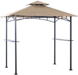 Outdoor Tent Grill Shelter  Canopy Roof Metal Frame Polyester Fabric