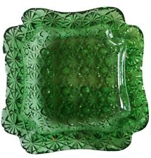Vintage Clear Forest Green Cut Glass Beveled Edges 6 Inch Square Ashtray