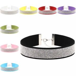 Velvet Choker Necklace Rhinestones Diamond Crystal Boho Collar Women's Girls UK