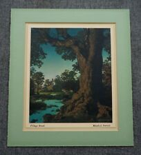 "MAXFIELD PARRISH 1941 Calendar VILLAGE BROOK in Vintage Frame 7.25"" x 8.25"""