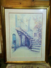 Beautiful Quaint Spanish Village House Staircase Scene Framed Print Picture Art