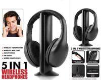 5 in 1 Hi-Fi Wireless Headphone Monitor FM Radio Headset MP3 PC TV Audio Phone