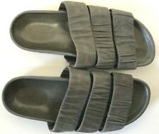 Rick Owens Gray Leather Three Strap Flat Slide Sandals wms SZ 39/us8.5