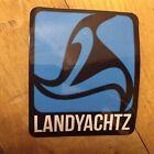 "Land Yachtz, Maker of Skateboard Decks, Blue & Black, Sticker, 2-3/4"" x  2-3/8"""
