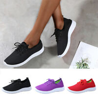 Womens Comfy Sports Trainer Shoes Mesh Breathable Sneakers Soft Lace Up Shoes