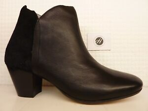 H by Hudson Chime Black Leather Suede Detail Heel Ankle Boot Shoe