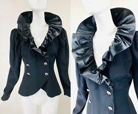 Vintage LILLIE RUBIN Avant Garde Black Oversize Ruffle Collar Evening Jacket, M