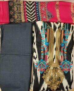Pakistani Lawn Designer(NewArrival)EMB 3Piece Suit & chiffon Dupatta
