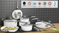 7 Piece Professional White Cookware Set - Non Stick -Silicon Handles -INDUCTION