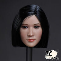 ZC TOYS 1/6 Female Figure Head Sculpt Beauty Black Short Hair Fit 12'' Body Toys