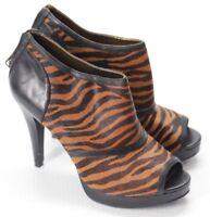 Reba Women's Leather Animal Print Peep Toe Pumps High Heels Zip Back Size 8