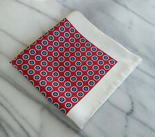 Hand Rolled Silk Ivory Pocket Square with Maroon,Black and Navy Geometric Design