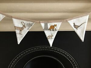 TATTON WOODLAND ANIMALS FOX DEER BUNTING 12CM X 15CM 8 FLAGS 220CM HOMEMADE