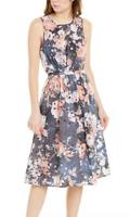 Hermant & Nandita 0 P Dress Eyelet Midi Navy Floral Anthropologie Waist Tie