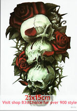 UK 21X15CM Skull pile of roses Half Sleeve Temporary Tattoo ARM BACK