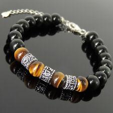 Men's Women OM Bracelet Obsidian Brown Tiger Eye Sterling Silver Clasp Link 1364
