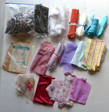 Vintage BARBIE Fashion DOLL Size Patterns & Fabric Scraps Remnants Material LOT
