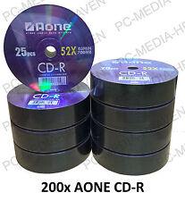 200 Aone Blank CD-R CDR Disc Disk CD Logo Non Printable 52x 700MB 80 Min 4x 50