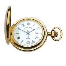 Reloj De Bolsillo Chapado en Oro Masónico por Mount Royal-Modelo Nº G411PQ