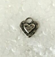 Vtg SOLID STERLING SILVER Hammered double Micro Heart PENDANT 925 Oxyidized