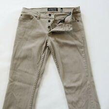 Rude Mens Stretch Denim Button Fly Beige Khaki Skinny Jeans Tag 32x32 Fits 33x31