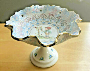 Hummel Style Ceramic Footed Pedestal Candy Nut Dish Bowl Star Cut Outs Gold Trim
